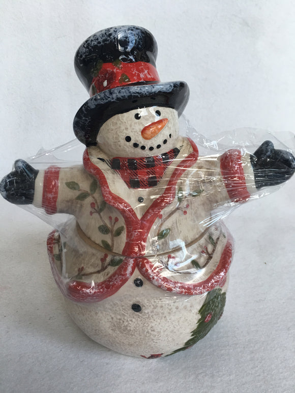 Christmas Whimsical Snowman Ceramic Cookie Jar