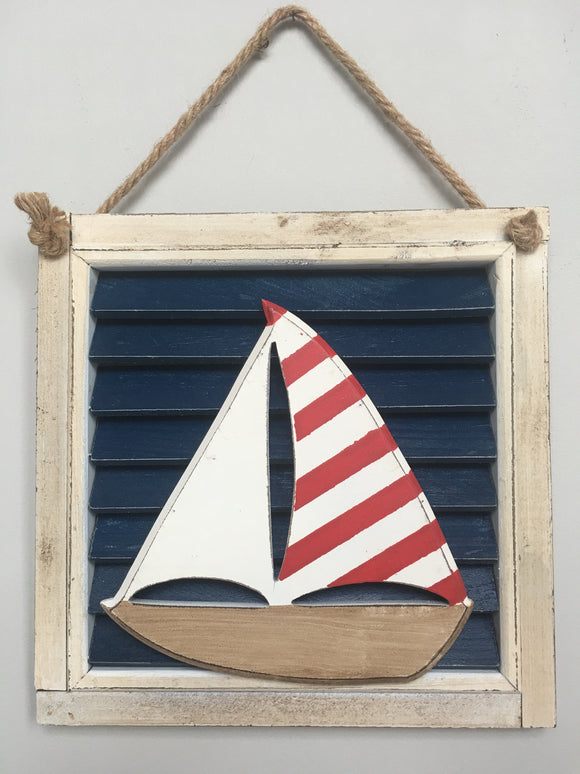Beach Nautical Sail Boat Resting On A Shutter Sign