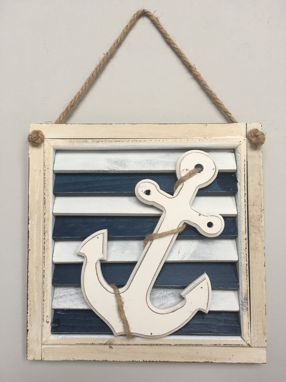 Beach Nautical White Anchor Resting on Shutter Sign