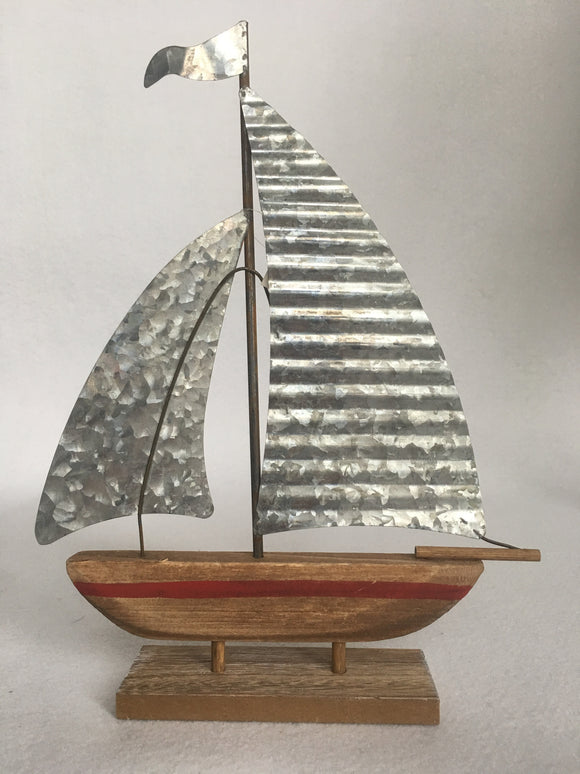 Beach Nautical Wood and Metal Sail Boat
