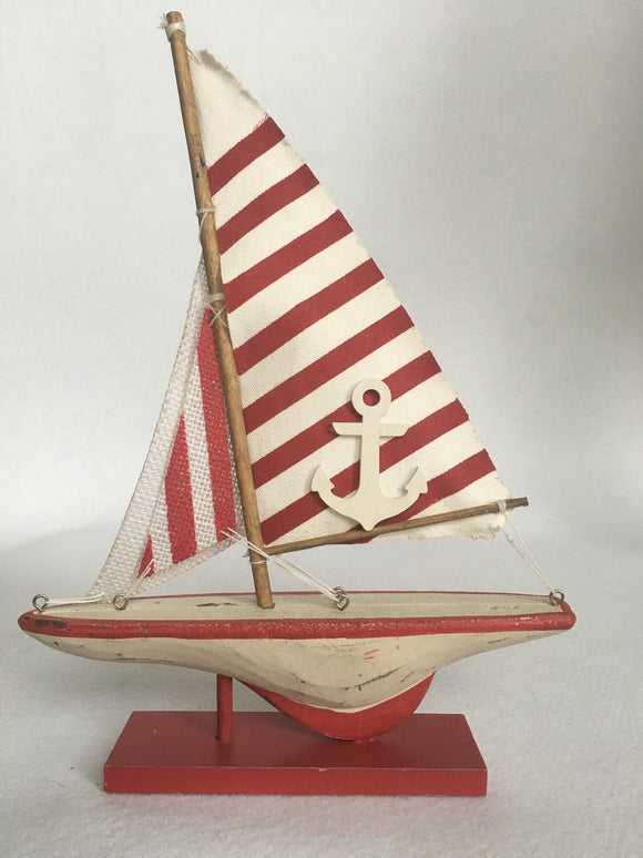 Beach Nautical Red or Blue Striped Sail Boat