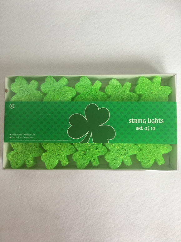Sait Patrick's Day Gel Coated Shamrock Shaped String Lights