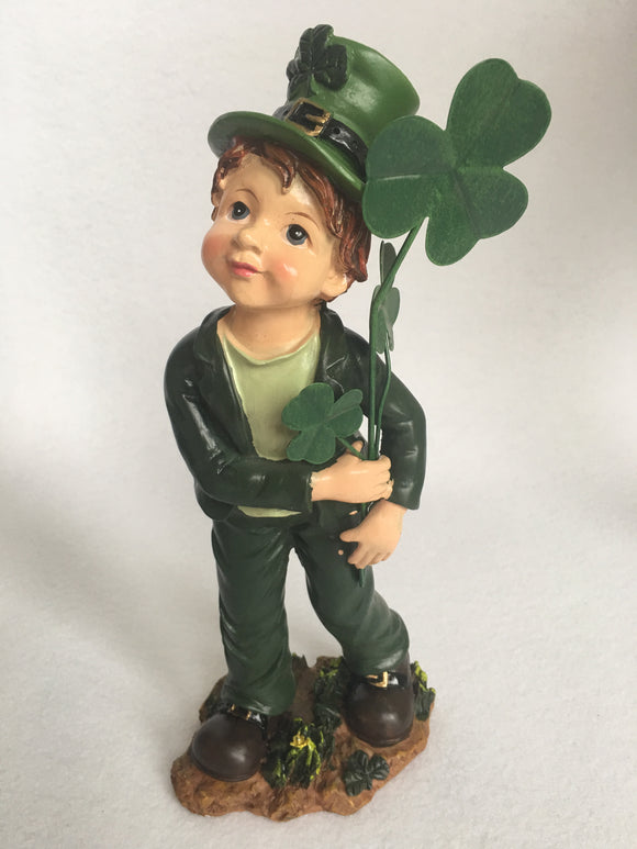 Saint Patrick's Day Boy Holding Shamrocks Figure