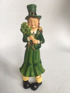 Saint Patrick's Day Man Holding Beer and Lady Holding Bouquet Figures