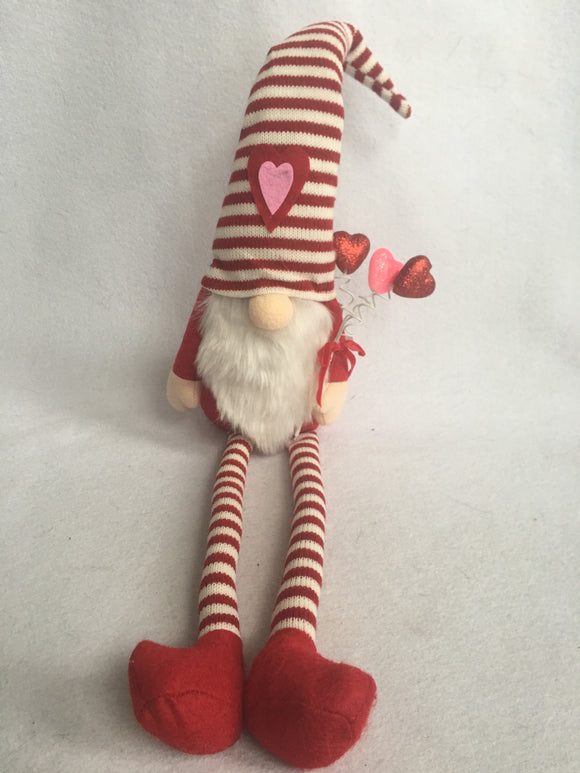 Valentine Red and White Striped Gnome With Long Legs