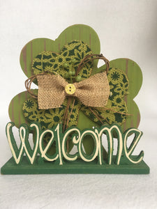 Saint Patrick's Day Shamrock Welcome Block Sitter