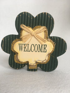 Saint Patrick's Day Small Welcome Shamrock Block Sitter