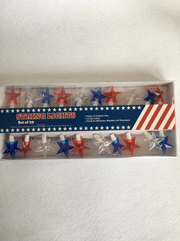 Patriotic Star String of 20 Lights