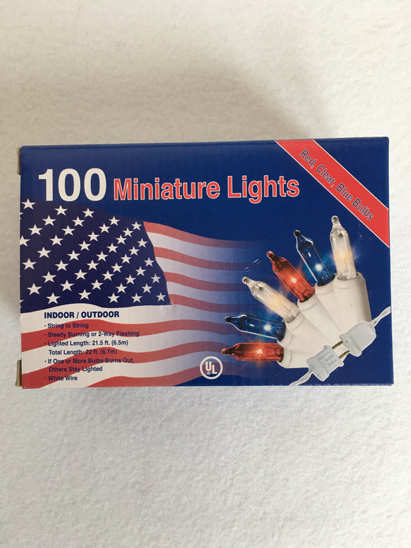 Patriotic Red, White and Blue 100 Miniature String Lights