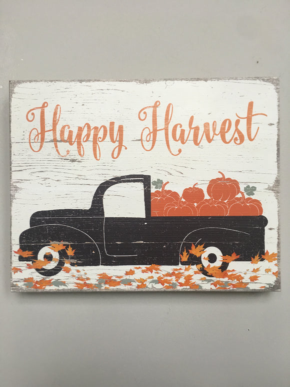 Harvest Handcrafted Happy Harvest Truck Carrying Pumpkins Sign