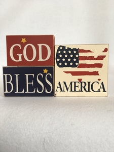 Patriotic God Bless America Block Sitter