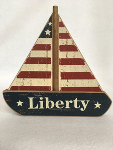 Patriotic Nautical Liberty Sail Boat