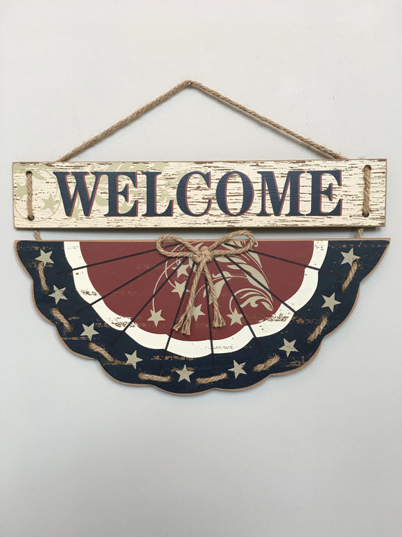 Patriotic Welcome Bunting Flag Sign
