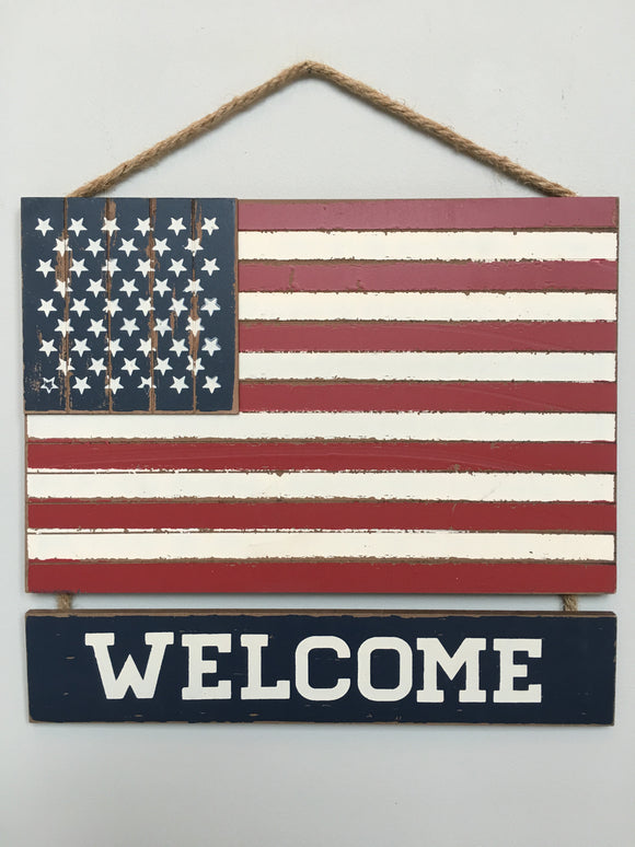 Patriotic American Flag Welcome Sign