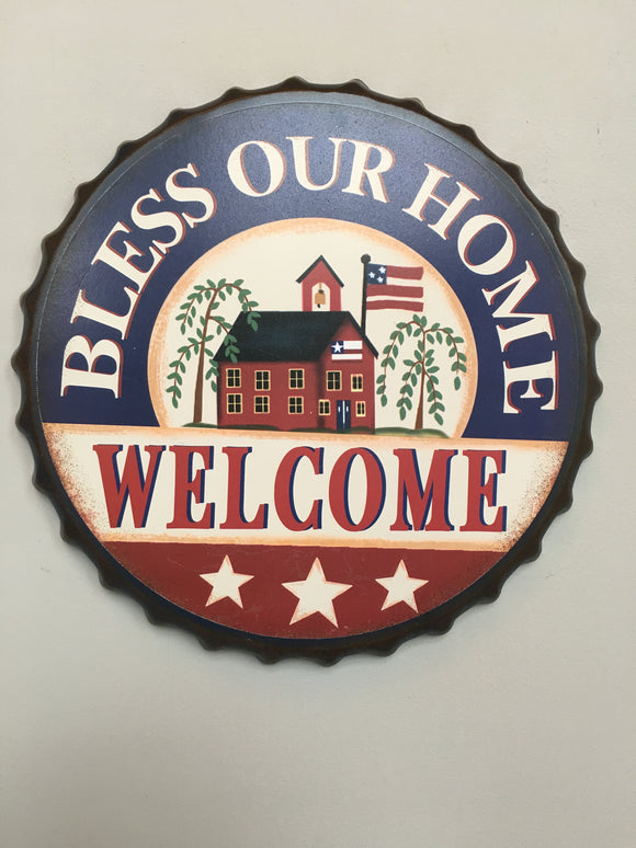 Patriotic Bottle Cap Bless Our Home Welcome Sign