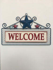 Patriotic Metal and Wire Mesh Welcome Sign