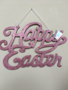 Easter Glittered Happy Easter Wall Hanging