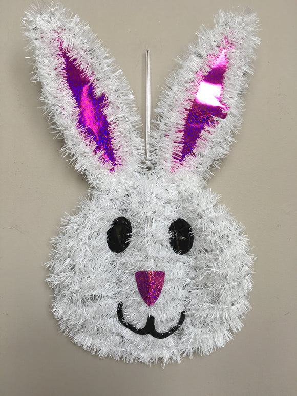 Easter Tinsel Bunny Face Wall Hanging