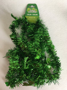 Saint Patrick's Day Green Tinsel With Green Shamrocks Garland