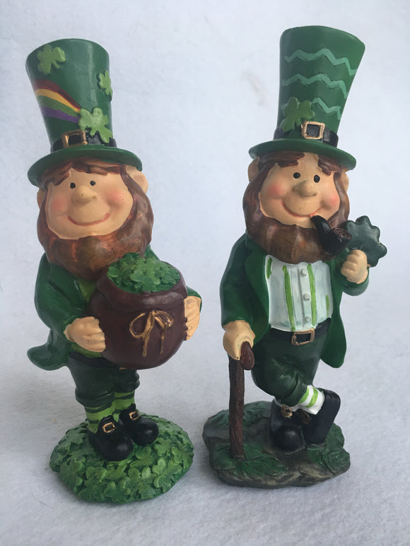 Saint Patrick's Day Leprechaun With Pipe or Holding Pot of Shamrocks