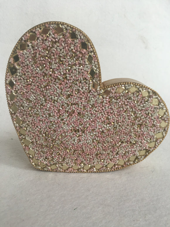 Valentine Sequin Beaded Heart Block Sitter