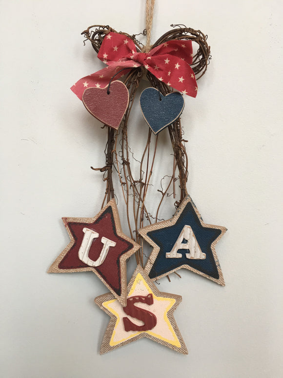 Patriotic Cascading 3 Tiered Stars USA Wall Hanging