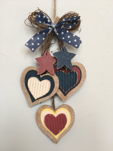 Patriotic 3 Tiered Patriotic Hearts with Stars Wall Hanging