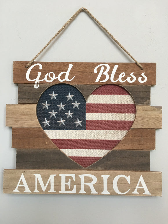 Patriotic God Bless America Flag Heart Sign