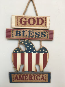 Patriotic God Bless America with Eagle Wall Hanging