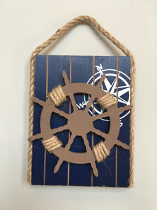 Beach Nautical Wooden Ship's Wheel Sign