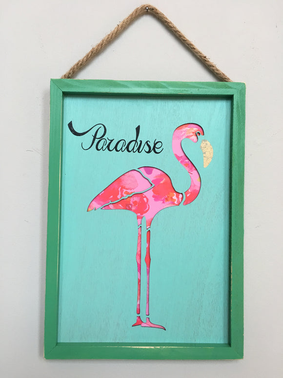 Beach Paradise Flamingo Sign