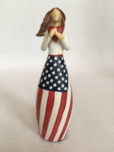 Patriotic Woman Holding Heart
