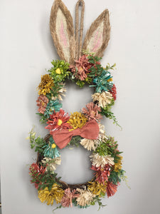 Easter Bunny Hanging Display with Flowers and Ears