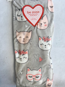 Valentine Various Cat Faces Blanket Throw