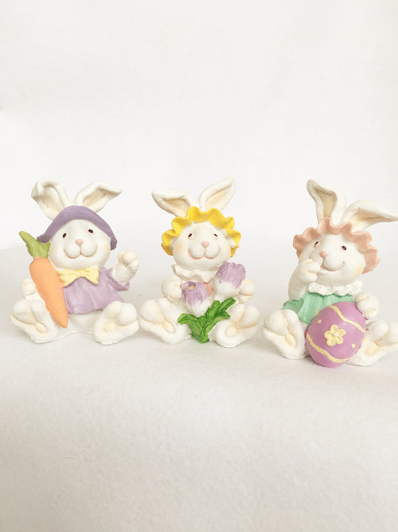 Easter Miniature White Bunny Holding Egg, Carrot or Tulips