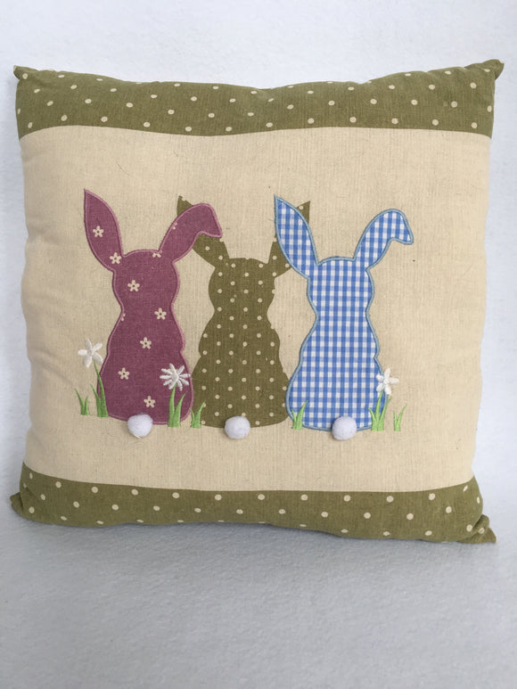 Clearance Three Bunnies With Cotton Tails Pillow