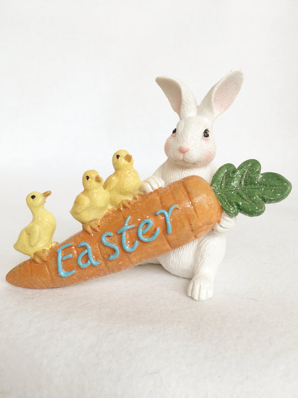 Easter Bunny Holding Carrot With Two Chicks and a Duck
