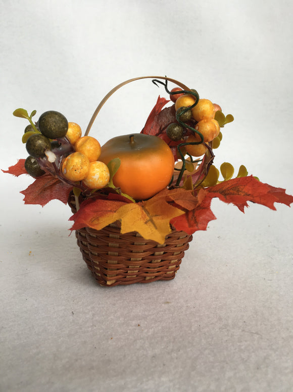 Harvest Small Basket of Berries, Leaves and Pumpkin