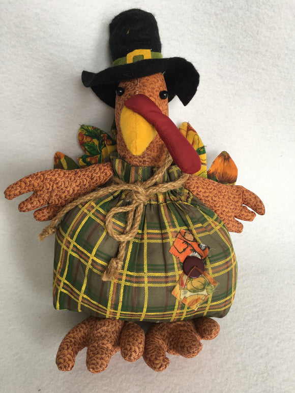 Harvest Cloth Turkey With Pilgrim Hat Display