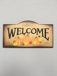 Harvest Wooden Welcome Sign With Pumpkins