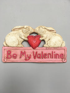 Valentine Kissing Bunnies Be My Valentine Sign