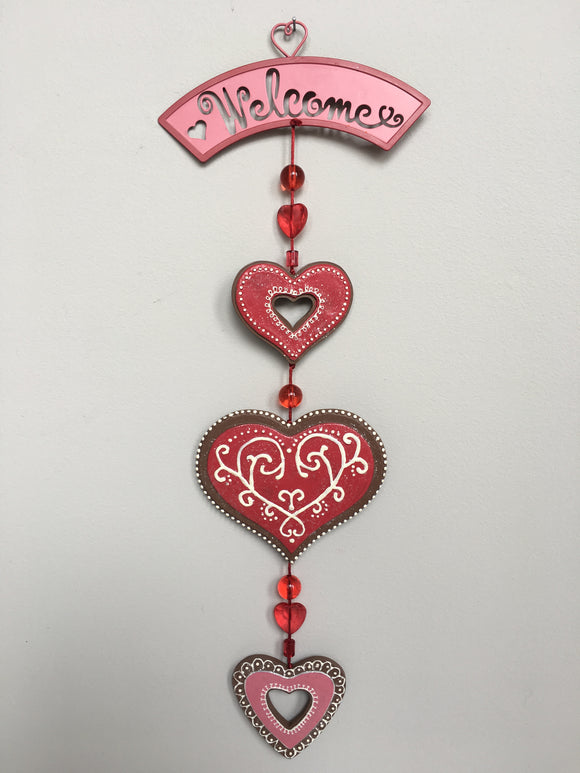 Valentine Welcome Spinner/Sign With 3 Dangling Hearts