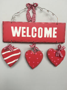 Valentine Wooden Welcome Sign with 3 Hearts