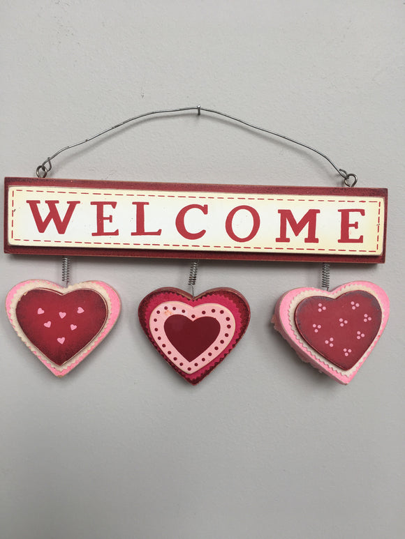Valentine Wooden Welcome  With 3 Cascading Hearts Sign