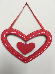 Clearance Valentine Small Open Heart Within a Heart Wall Hanging