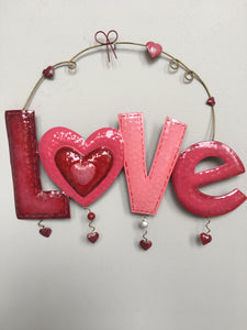 Valentine Metal Love Hearts Sign