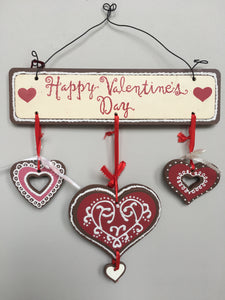 Valentine Happy Valentine's Day Sign With 3 Hearts