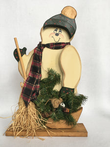 Christmas Vintage Hand Crafted and Hand Painted Wooden Snowman