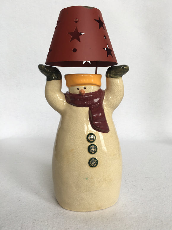 Clearance Russ Berrie and Co. Snowman Holding Lamp Shade Tea Light Holder