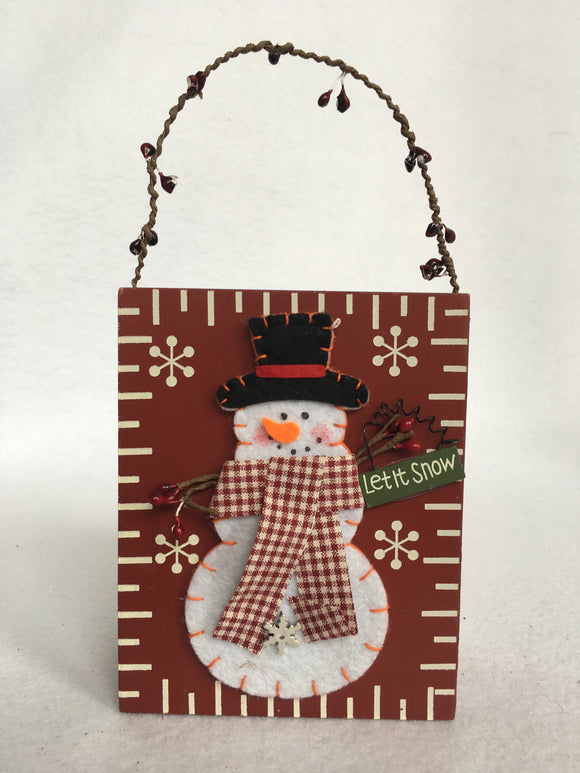 Christmas Snowman Let It Snow Decorative Bucket
